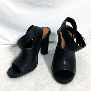 Nasty Gal Shoe Cult Black Leather Peep Toe Heels